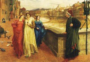 """Dante meets Beatrice at Ponte Santa Trinita"" -currently displayed at The Walker Gallery"